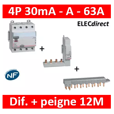 LEGRAND - Interrupteur différentiel DX3-ID 4P 63A - 30mA - A + module 4P - 411676+406301+405201
