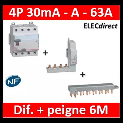 LEGRAND - Interrupteur différentiel DX3-ID 4P 63A - 30mA - A + module 4P - 411676+406301+405200