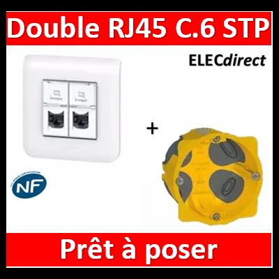 Legrand Prise RJ 45 Prog Mosaic - Cat.6A - STP - Blindage métal - 1 mod - blanc - LCS² - 076573x2+078802+080251+080021