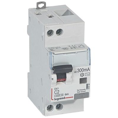 Disjoncteur différentiel DX³4500 arrivée haute et départ bas à vis U+N 230V~ - 6A typeAC 300mA - courbe C - 2M - 410723
