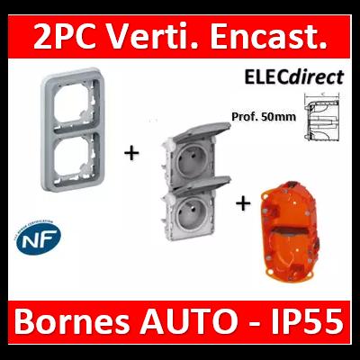 Legrand Plexo - Double PC 2P+T 16A 230V encast. - vertical - IP55/IK07 + Boîte Batibox - 069685+069563+080122