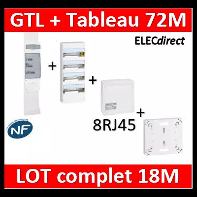 Legrand - GTL 18 + tableau 72M + VDI 8RJ45 / 2TV + platine - 030067+401224+418248+401191+413083