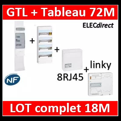 Legrand - GTL 18 + tableau 72M + VDI 8RJ45 / 2TV + platine - 030067+401224+418248+401182+413083