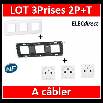Legrand Mosaic - 3Prises 2P+T à câbler complet - 3 postes (3x2M) - horizontale - 230V
