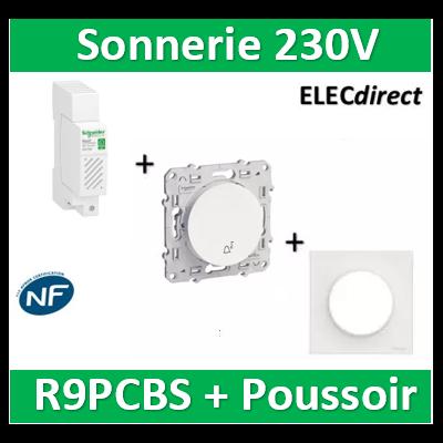 Schneider - Sonnerie modulaire RESI9 230V - 80dB + Poussoir + plaque Odace - R9PCBS+s520246+s520702