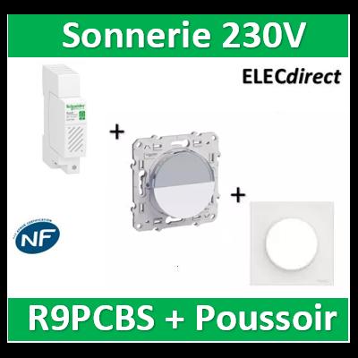 Schneider - Sonnerie modulaire RESI9 230V - 80dB + Poussoir + plaque Odace - R9PCBS+s520266+s520702