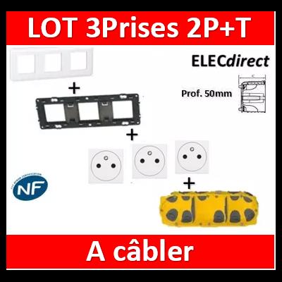 Legrand Mosaic - Prêt à poser - 3 Prises 2P+T 16A complet à câbler + boîte batibox 3 postes BBC