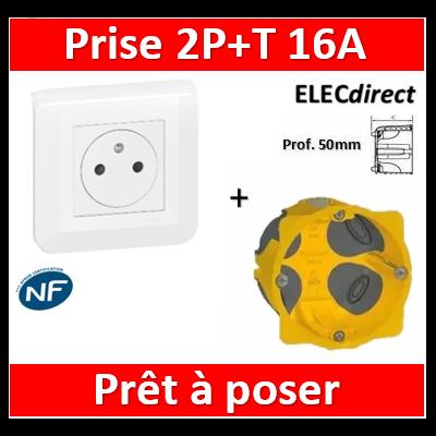 Legrand Mosaic - Prêt à poser - Prise 2P+T 16A complet + boîte batibox 1 poste BBC Prof. 50m