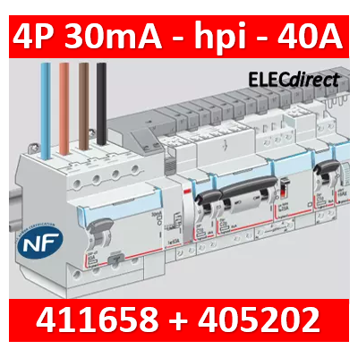 LEGRAND - Interrupteur différentiel DX3-ID 4P 40A - 30mA - HPI + peigne HX3 12M - 411658+405202