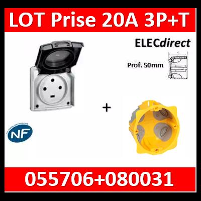 Legrand Plexo - Socle à encastrer - prise étanche Plexo 20 A - 3P+T - IP44-IK08 + boîte prof. 50 - gris- 055706+080031