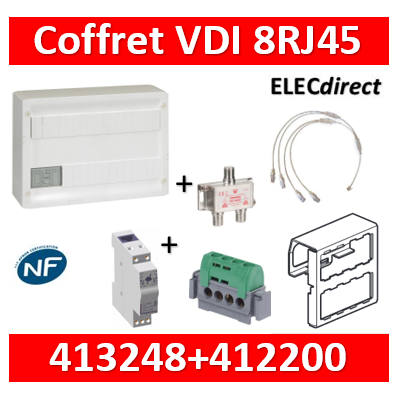 Legrand - Coffret VDI GRADE 2 avec brassage 18M STP - TV sur RJ45 - 8 RJ45 + parafoudre - 418248+412200+413083