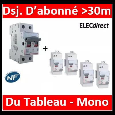 Legrand - Lot pour Disj. d'abonné >30m du tableau électrique - 63A - 406441+411650x3+411651