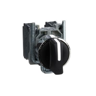 Schneider - Harmony XB4 - bouton tournant à manette - Ø22 - 3 pos rap C - noir - 2F - vis - XB4BD53