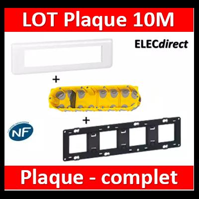 Legrand Mosaic - LOT - Plaque 10 modules - horizontal - 078810+080254+080024