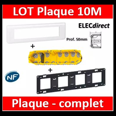 Legrand Mosaic - LOT - Plaque 10 modules - horizontal - 078810+080254+080034