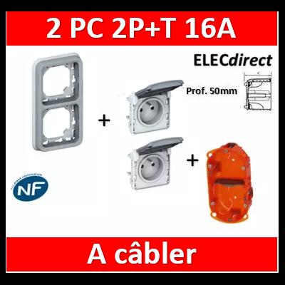Legrand Plexo - 2PC 2P+T 16A 230V encast. - vertical - IP55/IK07 + Boîte Batibox - 069685+069551x2+080122