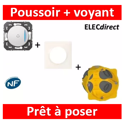 Legrand - Poussoir + voyant lumineux + sonnette dooxie 6A 250V~ finition blanc - 600018+600801+080021