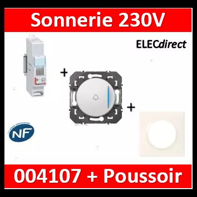 Legrand - Sonnerie modulaire - 230V~ + Poussoir Dooxie encastré - 004107+600801+600018