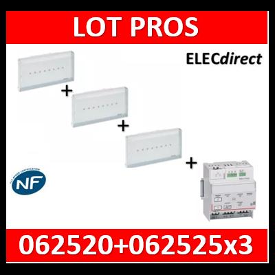 Legrand - BAES d'évacuation ECO1 standard à LEDs 45lm-1h plastique IP43-IK07 SATI Autodiag + télécommande - 062525x3+062520