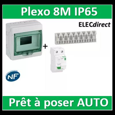 Schneider - coffret étanche - 8M + DPN16A + Dif. 40A AC 30mA + répartiteur 8M- 13959+R9ERC240+R9EXHS08