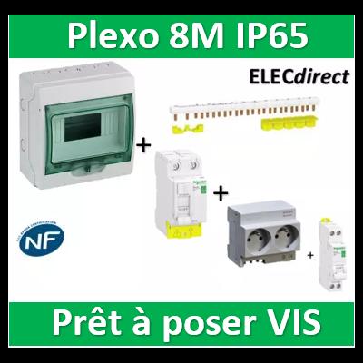 Schneider - coffret étanche - 8M + DPN16A + 2PC 16A + Dif. 40A AC 30mA + répartiteur 8M