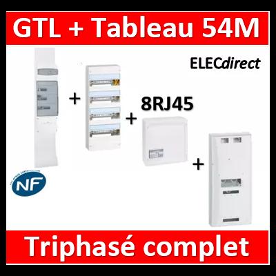Legrand - GTL 18 + tableau 54M + VDI 8RJ45 + platine tri - 030067+401223+418248+401184+413083