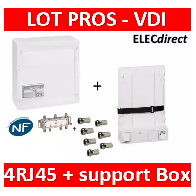 Legrand - Coffret VDI GRADE 2 - 4 RJ45 - TV 6 sorties + support BOX Legrand - 413248+413149+S6WN-7fiches F