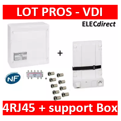 Legrand - Coffret VDI GRADE 2 - 8 RJ45 - TV 8 sorties + support BOX - 413248+413083x4+413149+S8WN+9fiches F