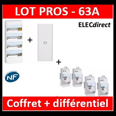 Legrand - Coffret DRIVIA 52 Modules + porte + dif 63A ACx3 + dif 63A A 30mA - 401214+401334+411650x3+411651