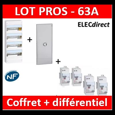 Legrand - Coffret DRIVIA 52 Modules + porte + dif 63A ACx3 + dif 63A A 30mA - 401214+401344+411650x3+411651
