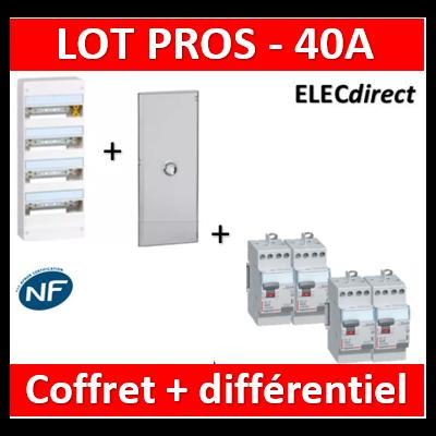 Legrand - Coffret DRIVIA 52 Modules + porte + dif 40A ACx3 + dif 40A A 30mA - 401214+401344+411611x3+411617