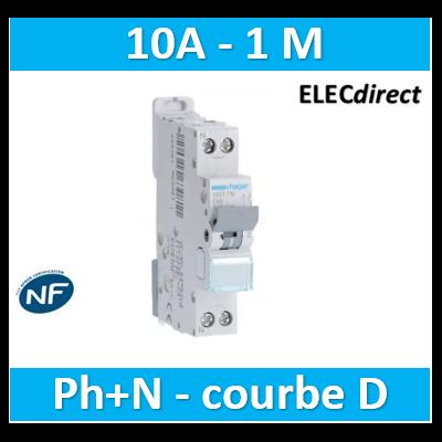 HAGER - Disjoncteur 1P+N 6-10kA courbe D - 10A 1 module - NGT710