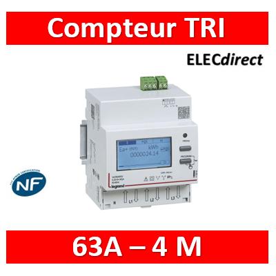 Compteur modulaire triphasé EMDX³ non MID raccordement direct 63A - 4 modules - avec sortie à impulsions - 412090