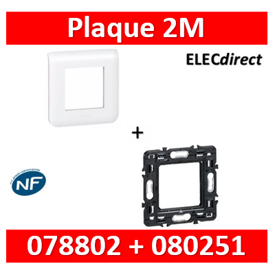 Legrand Mosaic - Plaque 2 modules - 1 poste + support 1 poste - 078802+080251
