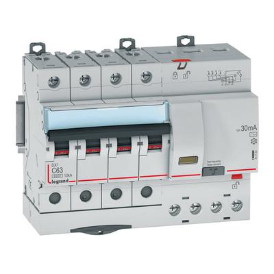 Legrand Disjoncteur différentiel monobloc DX³6000 10kA arrivée haute et départ bas à vis 4P 400V~ - 63A - typeAC 30mA 411192