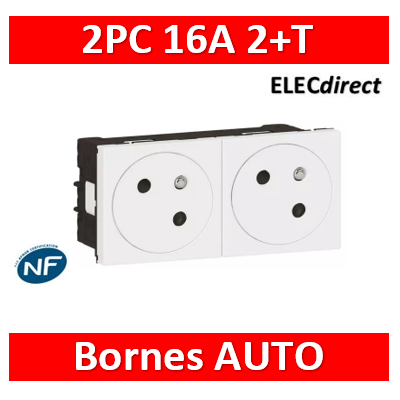 Legrand Double prise de courant 2P+T Surface Mosaic Link raccordement latéral 4 modules - blanc  077142L