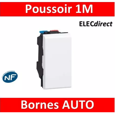 Legrand Poussoir ou poussoir inverseur Mosaic Easy-Led 6A 250V~ 1 module - blanc 077030L