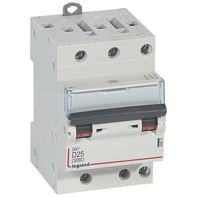 Legrand Disjoncteur DX³6000 10kA arrivée haute et départ bas à vis 3P 400~ - 25A - courbe D - pour peigne HX³ optimisé 408070