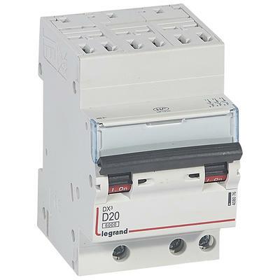 Legrand Disjoncteur DX³6000 10kA arrivée haute automatique départ bas à vis 3P 400V~ - 20A - courbe D - pour peigne HX³ optimisé 408076