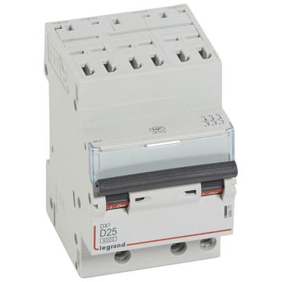 Legrand Disjoncteur DX³6000 10kA arrivée haute automatique départ bas à vis 3P 400V~ - 25A - courbe D - pour peigne HX³ optimisé 408077