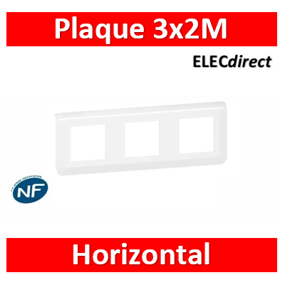 Legrand Plaque de finition horizontale Mosaic pour 3x2 modules blanc 078806L