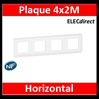Legrand Plaque de finition horizontale Mosaic pour 4x2 modules blanc 078808L