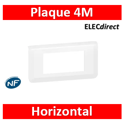 Legrand Plaque de finition horizontale Mosaic pour 4 modules blanc 078814L