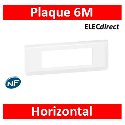 Legrand Plaque de finition horizontale Mosaic pour 6 modules blanc 078816L