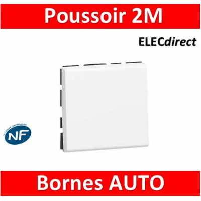 Legrand Poussoir ou poussoir inverseur Mosaic Easy-Led 6A 250V~ 2 modules - blanc 077040L