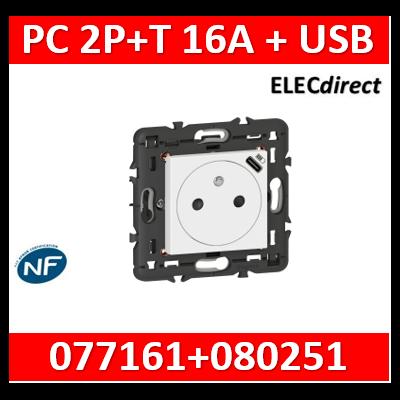Legrand  Prise de courant Surface Mosaic avec chargeur USB Type-C livrée avec support 2 modules - blanc 077161L