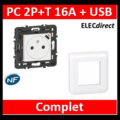Legrand Prise de courant Surface Mosaic avec chargeur USB Type-C livrée avec support 2 modules - blanc 077161L+078802