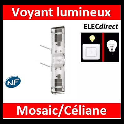 Legrand Voyant lumineux 230V Easy-Led brochable à LEDs blanches pour mécanismes Mosaic - socle gris 067686L