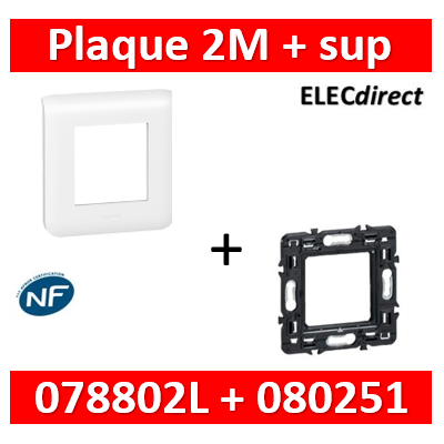 Legrand Mosaic - Plaque 2 modules - 1 poste + support 1 poste 078802L+080251