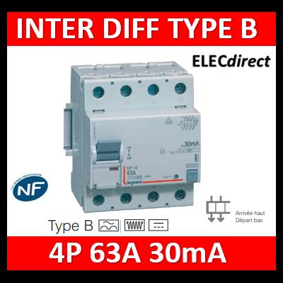 Legrand - Interrupteur différentiel DX³-ID arrivée haute et départ bas à vis - 4P 400V~ 63A typeB 30mA - 4 modules - 411847